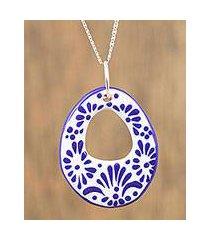 ceramic pendant necklace, 'indigo morning' (mexico)