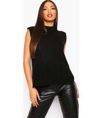 tall oversized gebreid hemd, black