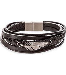 jayden titanium & faux leather feather charm bracelet