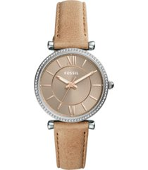 fossil women's carlie sand leather strap watch 35mm