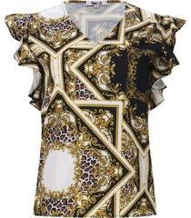 blusa estampada dorada color blanco, talla 10