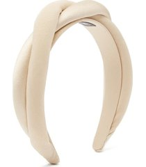 twisted satin and silk-crepe padded headband