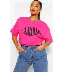 plus l'amour t-shirt met tekst en lippen, roze