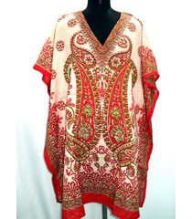 women's short kaftan dress poncho tunic casual ladies dress caftan paisley red