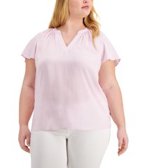 alfani plus size flutter-sleeve split-neck top, created for macy's