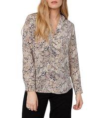 women's rails rebel snakeskin print button-up silk shirt, size medium - ivory