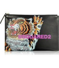 dsquared2 designer handbags, women's tiger printed black calf leather pouch