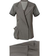 yohji yamamoto pre-owned short sleeved kimono suit - grey