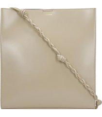 jil sander tangle shoulder bag in beige leather