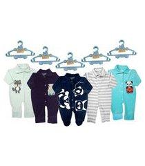 kit roupa e acessórios bebê 5 macacão longo plush e 5 cabides azul
