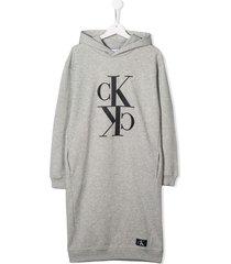 calvin klein jeans teen hooded logo sweatshirt dress - grey
