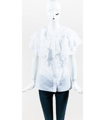 white cotton mousseline eyelet ruffle buttoned blouse