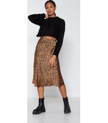 womens come down leopard on 'em midi skirt - tan