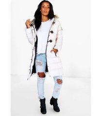 gewatteerde parka jas met stiksels en faux fur capuchon, wit