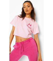 kort t-shirt met borstopdruk, light pink