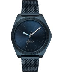 hugo men's #act blue stainless steel mesh bracelet watch 44mm