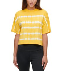 calvin klein performance tie-dyed mock-neck top