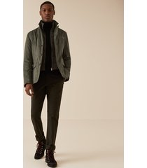 reiss appo - unstructured blazer with removable gilet in khaki, mens, size xxl