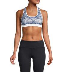 roberto cavalli sport women's snake-print sports bra - denim blue - size m