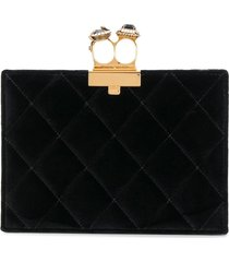 alexander mcqueen quilted two-ring pouch - black