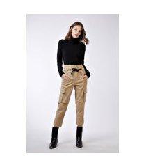 calça bolsos lateral cordão cintura khaki - 38