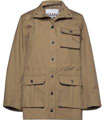 double cotton outerwear jackets utility jackets beige ganni