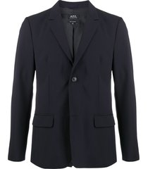 a.p.c. fitted single-breasted blazer - blue
