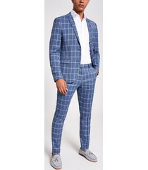 river island mens blue check skinny suit jacket