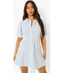 blouse jurk met stippen en laagjes, white