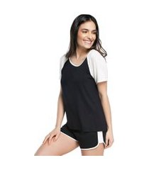 pijama feminino curto com manga curta preto e off white