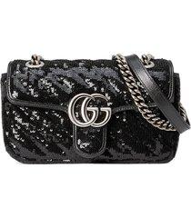 gucci gg marmont mini sequin shoulder bag - black