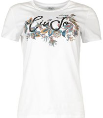 katoenen logo t-shirt june  wit