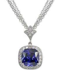 """blue cubic zirconia cushion halo 18"""" pendant necklace in sterling silver"""