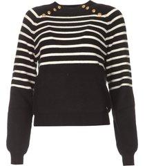 gebreide trui met strepen silvana  zwart