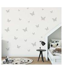 adesivo de parede borboletas em prata 25un cobre 1,5m²