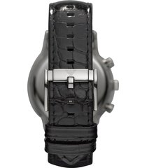 emporio armani designer men's watches, stainless steel chronograph watch w/embossed leather strap