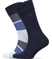 th men sock 2p rib color block underwear socks regular socks blå tommy hilfiger