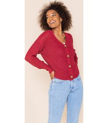 women's elisa button front cropped cardigan in burgundy by francesca's - size: 3x