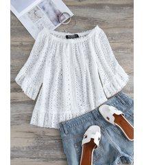 blusa con hombros descubiertos y diseño hueco blanco de yoins