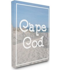 "stupell industries cape cod beach typography vintage-inspired canvas wall art, 16"" x 20"""
