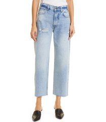 anine bing gavin blue reservoir high waist distressed nonstretch ankle jeans, size 30 in washed blue at nordstrom