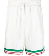 casablanca tennis striped track shorts - white
