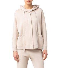 women's akris punto snap front wool hoodie, size 8 - ivory