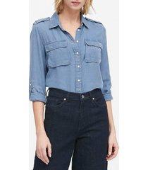 camisa jeans banana republic reta bolso azul
