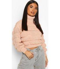 petite bubble knit roll neck sweater, blush