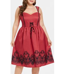plus size flared sweetheart neck dress