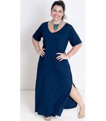 vestido mari malpighi longo camisetão decote v com fenda azul marinho