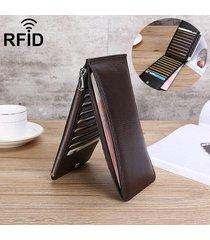 portafoglio lungo a 5.5pollici in pelle vera con rfid antimagnetico con 20 card slots di stile business casual