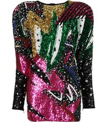 balmain sequined wide-shoulder dress - pink