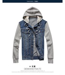 men's classic denim hooded jean jacket hoody coat detachable top fleece hoodies